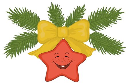 green smiley face: Christmas decoration: red star - smiley, yellow bow and green fir branches. Illustration