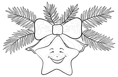 Christmas decoration, contours: star - smiley, bow and fir branches.  Vector