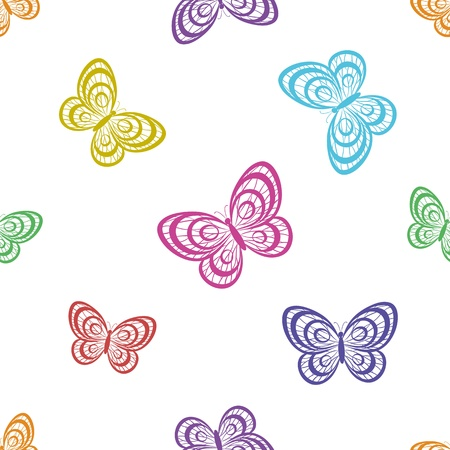 Seamless background, various symbolical butterflies, coloured contours on a white background.