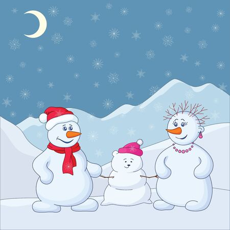 Family of snowmen in the winter mountains. Vector