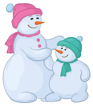 Cartoon, snowmens mother and son, isolated white background.  Illustration