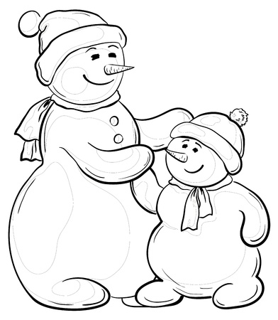 Cartoon, monochrome contours on white background: snowmens mother and son. Vector Vector