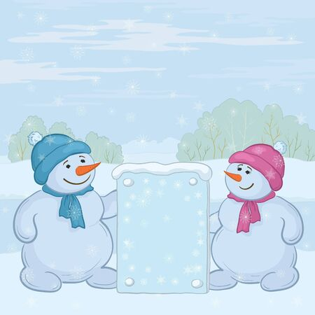 Snowman boys with the poster in the winter forest. Vector Stock Vector - 10980165