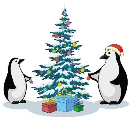 Antarctic emperor penguins decorate the Christmas tree. Vector Stock Vector - 10980166