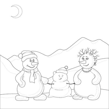 Family of snowmen in the winter mountains, contours. Vector Stock Vector - 10980159