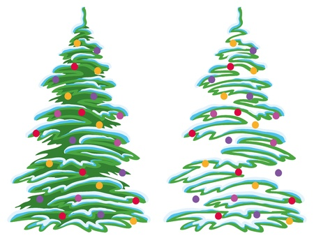 fur trees: Christmas holiday tree with ornaments: balls and stars, vector