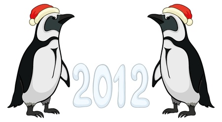 Antarctic emperor penguins in Santa hats with the inscription 2012. Vector Stock Vector - 10980167