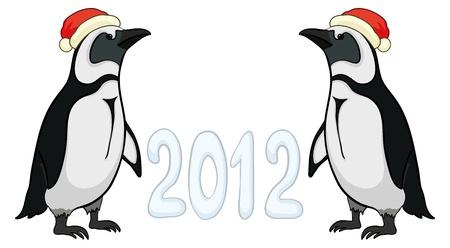 Antarctic emperor penguins in Santa hats with the inscription 2012. Vector Stock Vector - 10980167