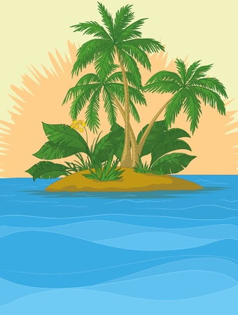 isle: Tropical sea island with palm trees and sun. Vector Illustration