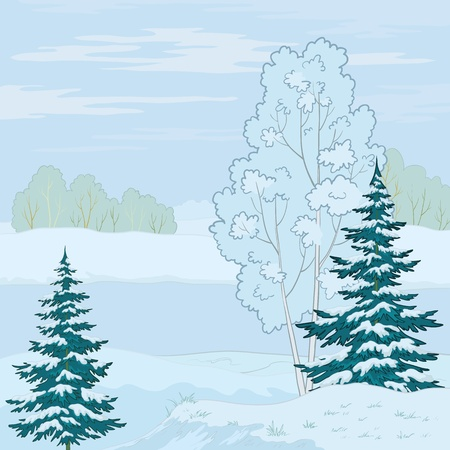 Winter landscape: tree on the shore of a frozen pond and the blue sky with white clouds. Vector Vector