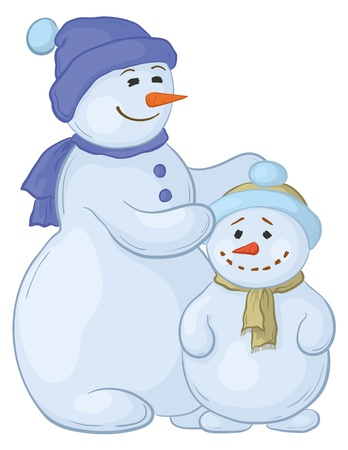 Cartoon, snowmens mother and son, isolated white background. Vector Vector
