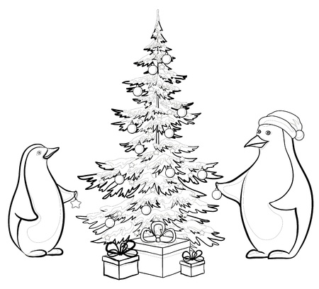 Antarctic emperor penguins decorate the Christmas tree, contours. Vector Vector