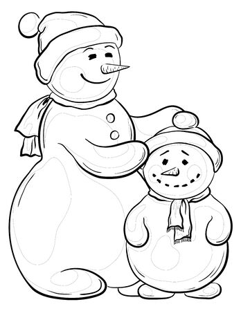 Cartoon, monochrome contours on white background: snowmens mother and son. Vector Stock Vector - 10980178