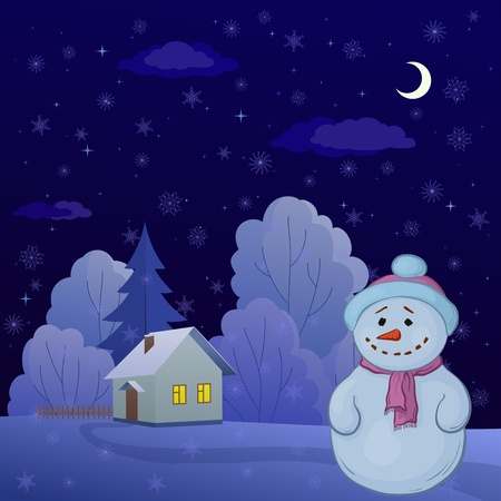 Christmas cartoon: snowman on a night winter forest glade with house. Vector Vector