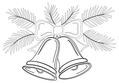 jingle bells: Christmas decoration, symbolical pictogram, contours: bells with bow and fir branches. Vector Illustration