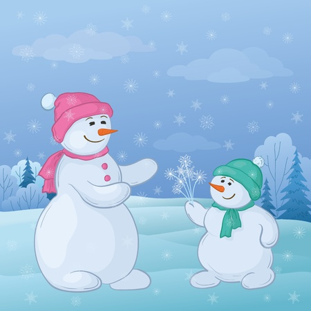Christmas cartoon: snowmen son gives mom snowy flowers in the winter forest. Vector Vector