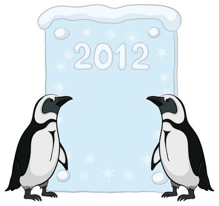background antarctica: Antarctic penguins with a placard with the inscription 2012.