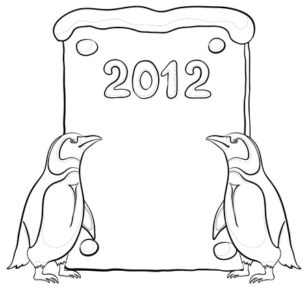 Antarctic penguins with a placard with the inscription 2012, contours.  Vector