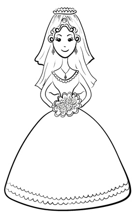 Cartoon, monochrome contours: the bride in wedding dress with a bouquet of flowers. Vector
