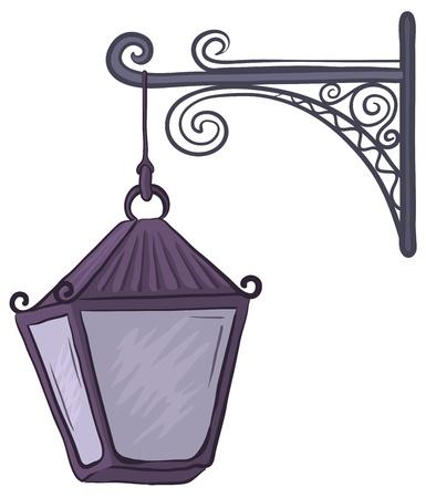 streetlight: Vintage nonluminous street lamp, hanging on a decorative bracket.