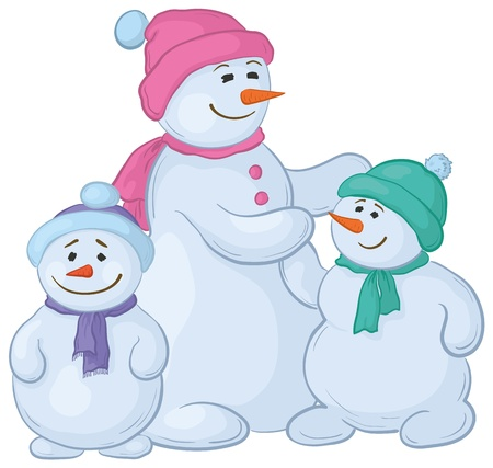 Cartoon, snowmens mother and children, isolated white background. Vector