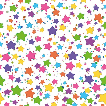 Seamless background: colored stars smilies on white. Stock Vector - 11039730