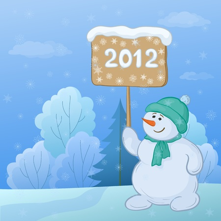 Christmas cartoon, snowmen boy with the poster with the inscription 2012 in the winter forest.  Vector