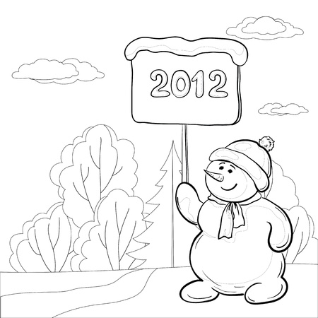 Christmas cartoon, contours: snowmen boy with the poster with the inscription 2012 in the winter forest. Vector