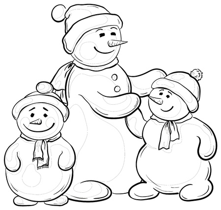 Cartoon, monochrome contours: snowmens mother and children.  Vector