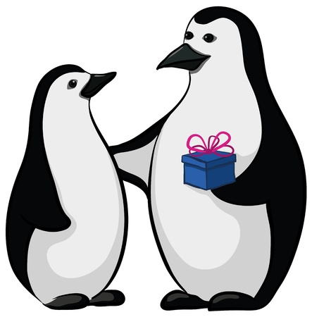 Antarctic black and white emperor penguins with a festive gift box.  Vector
