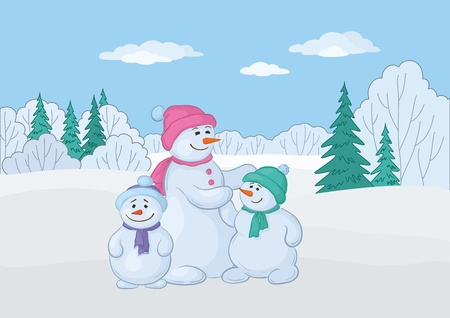 Christmas cartoon: snowmens mother and childrens in the winter forest.  Vector