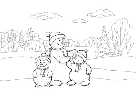 Christmas cartoon, contours: snowmens mother and childrens in the winter forest.  Vector