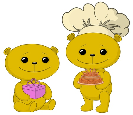 Toy teddy bears with holiday cake and gift box.  Vector