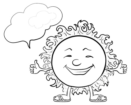 Smiling sun with a cloud for your text, contours. Vector