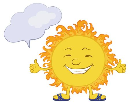 Smiling sun with a cloud for your text.  photo