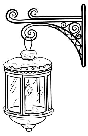 lampposts: Vintage farol que brilla intensamente en la nieve, colgando de un soporte decorativo. Contornos. Vector Vectores