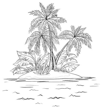 야자수와 열 대 바다 섬, 윤곽. 벡터 일러스트