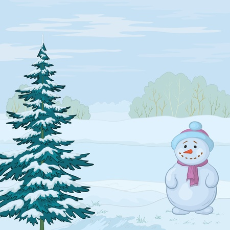 lake shore: Snowman and Christmas tree on the bank of the winter forest river. Vector Illustration