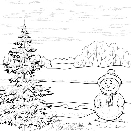 Snowman and Christmas tree on the bank of the winter forest river, contours. Vector