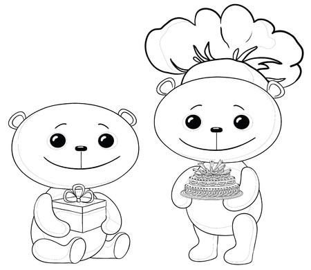 Toy teddy bears with holiday cake and gift box, contours. Vector Vector