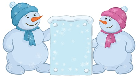 Snowman boys with a banner for your text. Vector Vector