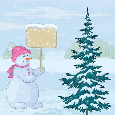 Christmas cartoon, snowmen woman with the poster for your text in the winter forest. Vector Vector