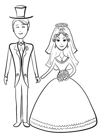 Cartoon, the bride and groom during the wedding ceremony, contours. Vector