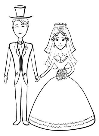 heiraten: Karikatur, die Braut und Bräutigam während der Hochzeitszeremonie, Konturen. Vektor