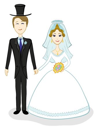 Cartoon, the bride and groom during the wedding ceremony. Vector photo