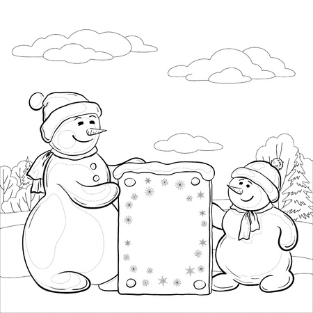 Snowman mother and son in the winter forest with a banner  Illustration