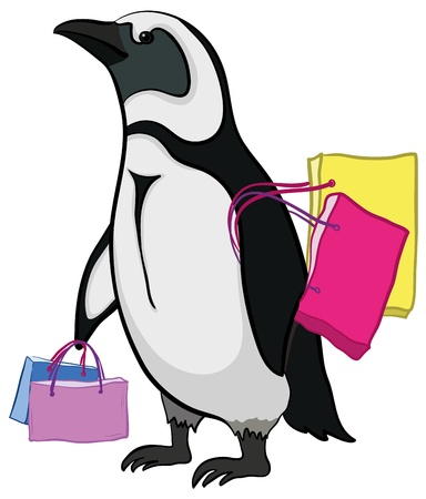 Antarctic emperor penguin with bags goes to the store to shop