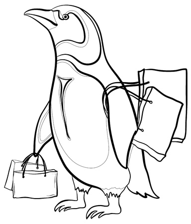 Antarctic emperor penguin with bags goes to the store to shop photo
