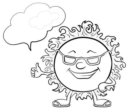 Smiling sun with black glasses and a cloud for your text, contours Vector