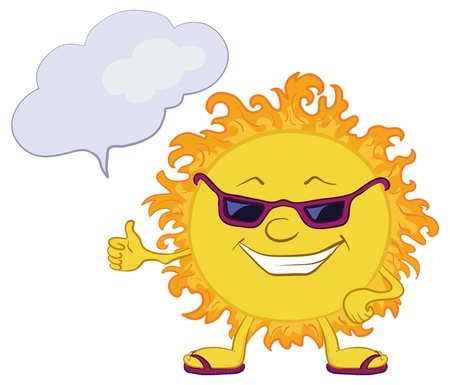 Smiling sun with black glasses and a cloud for your text Vector